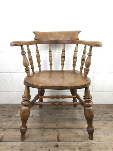19th Century Beech and Elm Smoker's Bow Chair (1 of 12)