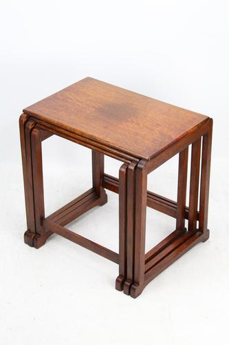 Small Art Deco Nest of Oak Tables (1 of 13)