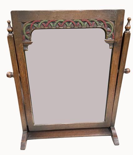 Early 20th Century Oak Toilet Mirror (1 of 5)
