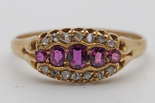 Edwardian 18ct Gold Ruby & Diamond Ring (1 of 3)