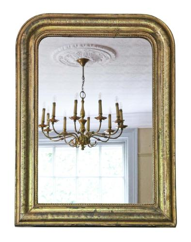 Gilt 19th Century overmantle wall mirror large (1 of 6)