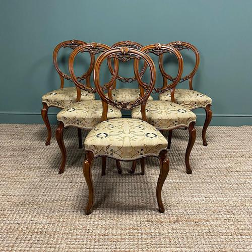 Elegant Set of 6 Victorian Walnut Antique Dining Chairs (1 of 9)