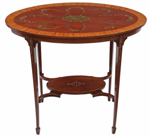 19th Century Decorated Satinwood & Mahogany Table  / Occasional Table (1 of 6)