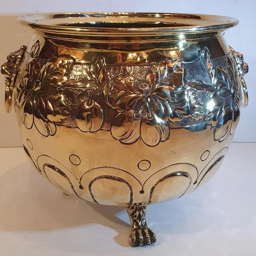 19th Century Polished Embossed Brass Planter (1 of 3)