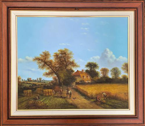 Original Victorian Harvest Countryside Landscape Oil Painting (1 of 10)