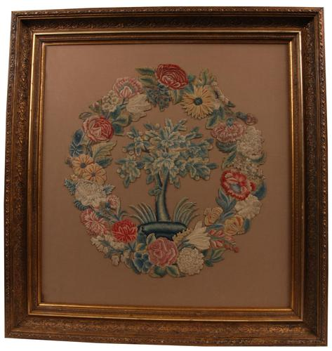 18th Century Floral Embroidered Needlework Picture - Rebacked (1 of 1)