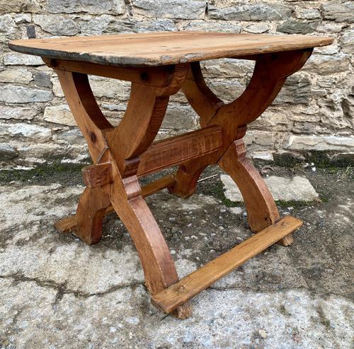 Antique Swedish Pine X-frame Trestle Table (1 of 21)