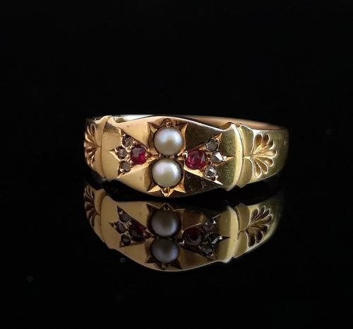 Antique Ruby, Diamond and pearl ring, 15ct gold (1 of 12)