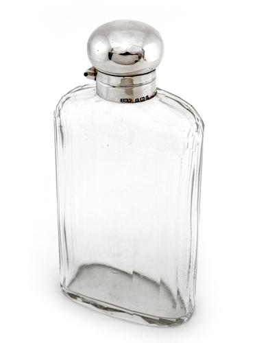 Large Edwardian Silver and Glass Hip Flask (1 of 4)