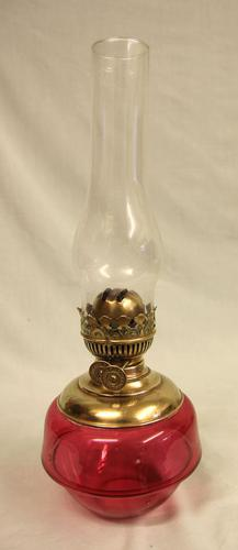 Antique Victorian Cranberry Glass Oil Lamp (1 of 4)