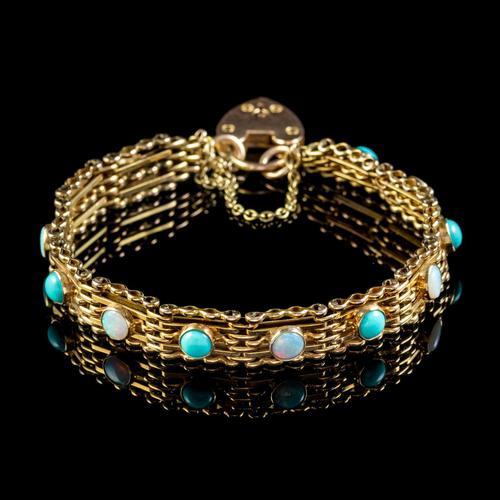 Antique Edwardian Opal Turquoise Gate Bracelet 9ct Gold Walker & Hall c.1901 (1 of 7)