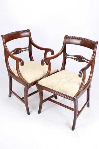 Pair of Regency Mahogany Open Armchairs / Carvers (1 of 13)