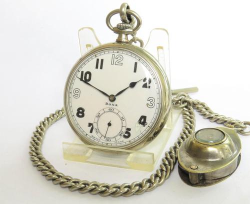 1940s Doxa Pocket Watch, Chain & Compass Fob (1 of 5)