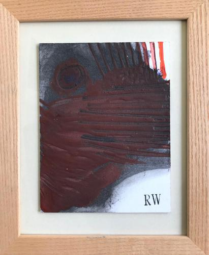 Original Oil on Card 'Abstract Design' by Robin Welch 1936-2019 Framed (1 of 2)