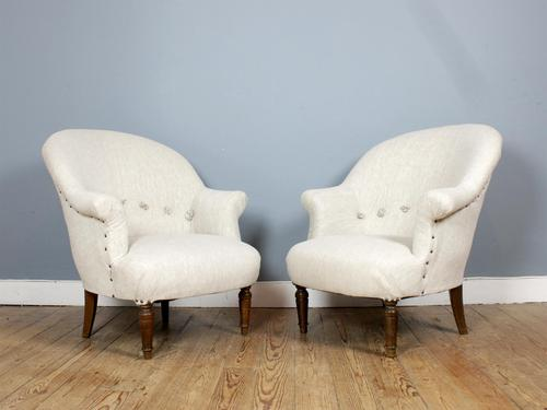 "Newly Upholstered Pair of French ""Crapaud"" Tub Chairs (1 of 3)"