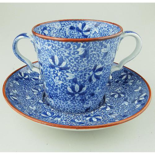 Pearlware Pottery Blue & White Transferware Loving Cup & Saucer c.1810 (1 of 8)