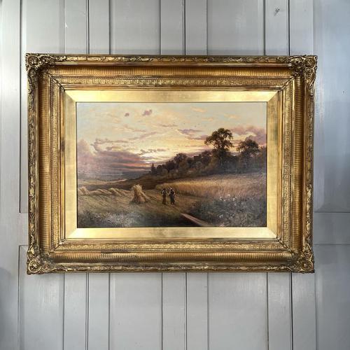 Antique Victorian Large Landscape Oil Painting in Ornate Gilt Gesso Frame Signed H Jones (1 of 10)
