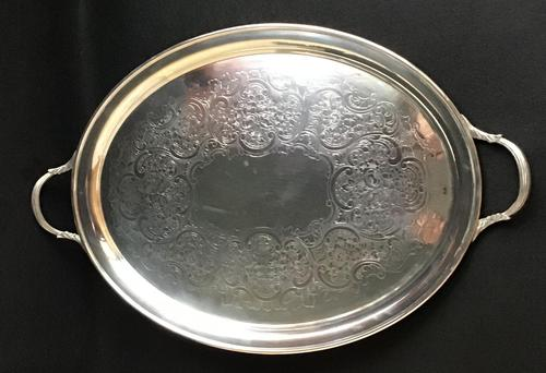 Cased Silver Plated George VI Oval Butlers Tray (1 of 3)