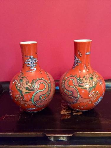 Pair of Chinese Red Oxide Five Claw Dragon Vases c.1900 (1 of 10)