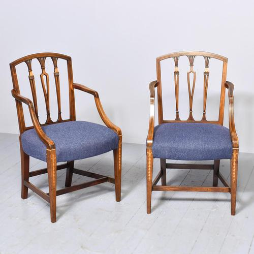 Pair of Inlaid Mahogany Georgian Hepplewhite Armchairs (1 of 7)
