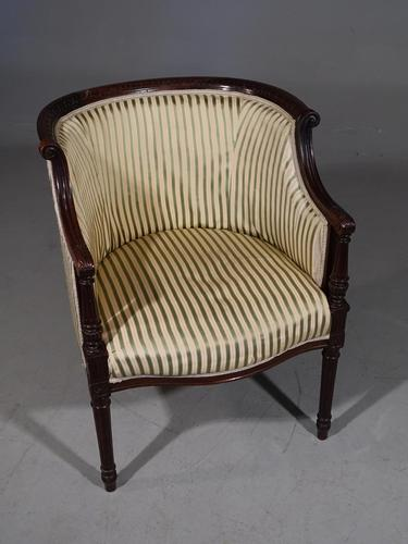 Finely Carved Edwardian Salon or Tub Chair (1 of 5)