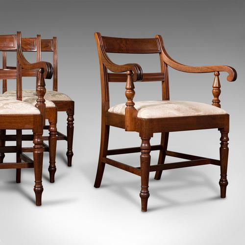 Set of 4, Antique Dining Chairs, English, Mahogany, Pair Of Carvers, Regency (1 of 12)
