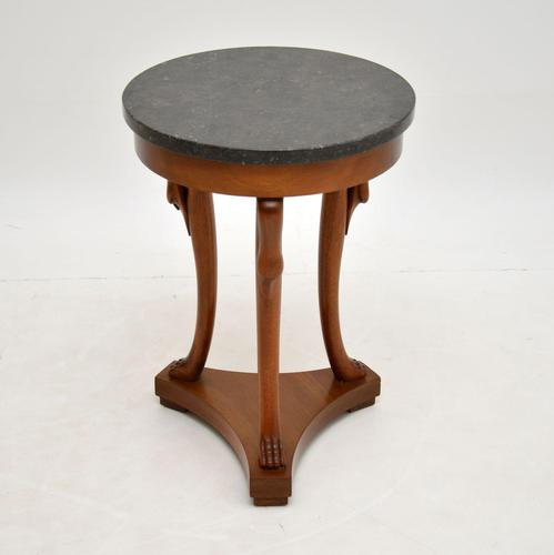 Neoclassical Style Walnut Marble Top Side Table (1 of 8)