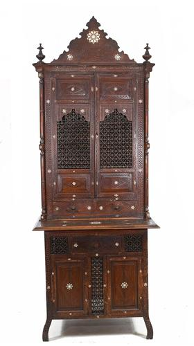 Syrian Inlay Cabinet Bookcase Damascan Islamic Interiors c.1880 (1 of 14)
