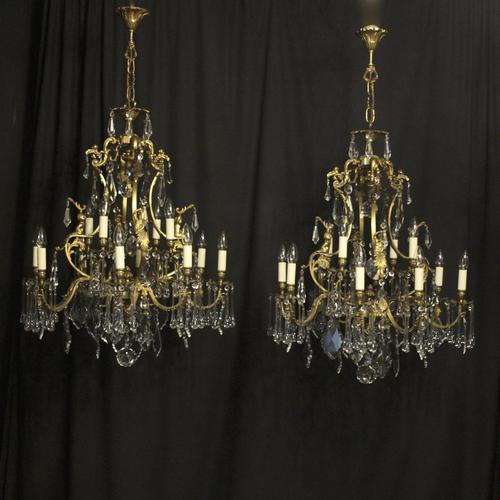 French Pair Bronze 12 Light Antique Chandeliers (1 of 11)
