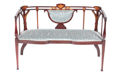 Unusual Antique Edwardian Inlaid Mahogany Settee (1 of 12)
