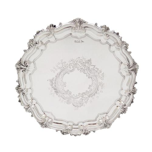 """Antique Victorian Sterling Silver 10"""" Salver / Tray - Walker & Hall 1897 (1 of 11)"""