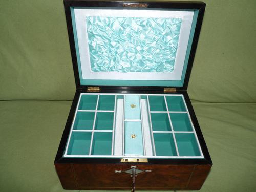 Quality Inlaid Burr Walnut Jewellery Box + Tray. c1875. (1 of 12)