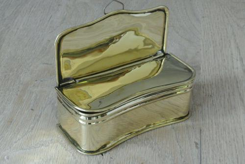 Fine English Antique 19th Century Brass Taper Box Hinged Brass Box for Fireplace (1 of 5)