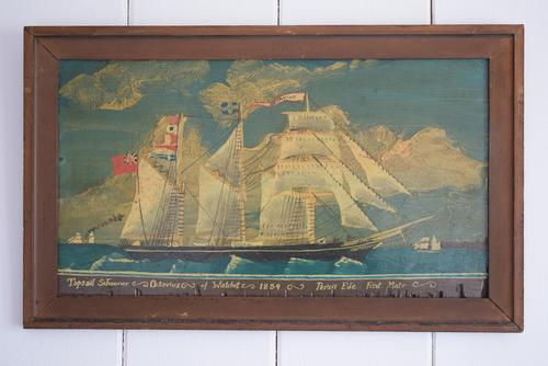 19th Century Maritime Oil on Board Topsail Schooner (1 of 10)