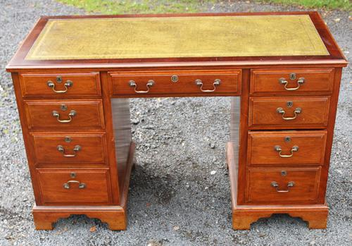 1960s Yew Wood Pedestal Desk and Green Leather Top (1 of 4)