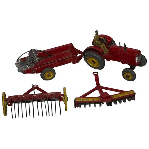 1950's Dinky Toys Massey Harris Red Tractor Plough Manure Spreader Disc Harrow (1 of 36)