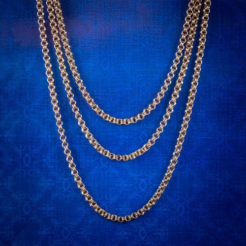 Antique Victorian Sautoir Chain 15ct Gold c.1900 (1 of 6)