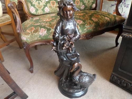 A Victorian Heavy Bronze Girl with Goose (1 of 10)