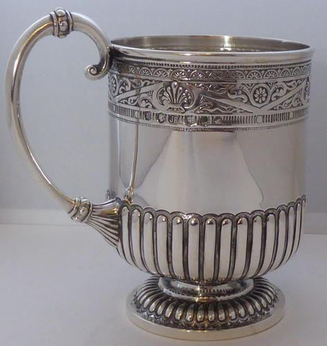Rare Scottish Glasgow 1882 Solid Silver 1/2 Pint Tankard Christening Mug (1 of 13)