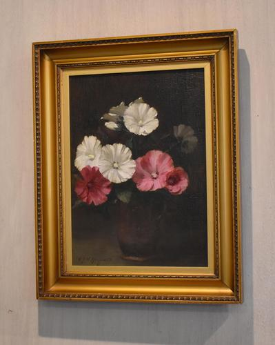 Still Life Oil Painting of Hollyhocks by Alfred Frederick William Hayward (1 of 7)