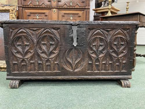 A rare 16th Century solid Oak Gothic Coffer (1 of 7)