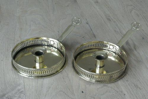 Pair of Antique Brass Georgian Gallery Chamberstick Pearson Page Candlestick c.1910 (1 of 7)