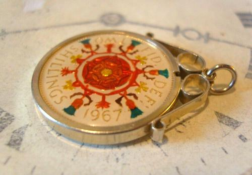 Vintage Pocket Watch Chain Florin Fob 1967 Lucky Silver & Enamel Two Shilling Fob (1 of 10)