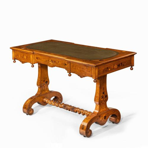 Victorian Walnut Marquetry Writing Table attributed to Edward Holmes Baldock (1 of 17)