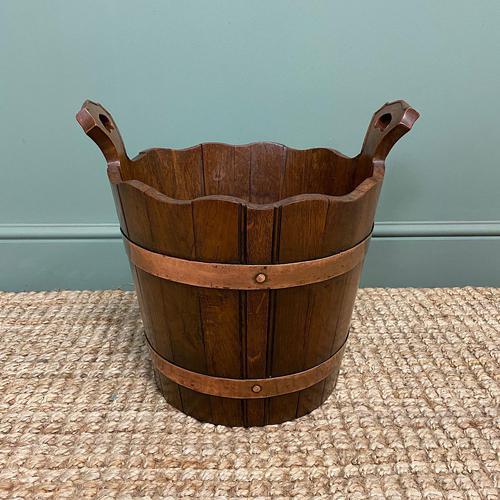 Spectacular 19th Century Victorian Oak Antique Log Bucket (1 of 5)