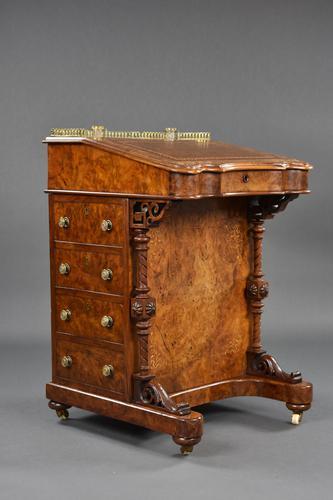 Victorian Burr Walnut Inlaid Davenport Desk (1 of 9)