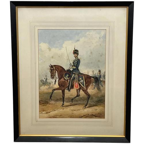 Military Watercolour Prince of Wales Own 10th Royal Hussars Guard on Horseback by Henry Martens c.1850 (1 of 53)