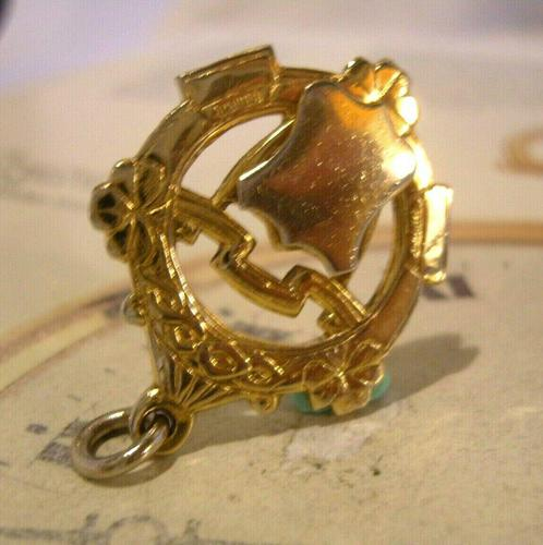 Vintage Pocket Watch Chain Fob 1950s Victorian Revival 12ct Gold Plated Shield Fob (1 of 5)