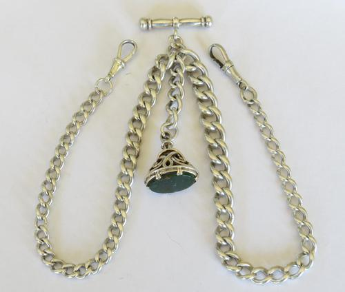 Antique Silver Double Watch Chain and Fob (1 of 4)