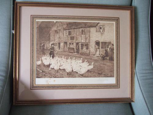 """Myles Birket Foster RWS - Signed Etching """"The Goose Girl"""" (1 of 5)"""